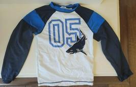 Gymboree Swim Shirt Rash Guard | Boys Size M 7-8 | Shark - White Blue  - $17.99
