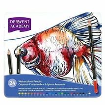 Derwent Academy watercolor pencils water color pencil metal case 24 colo... - $59.76