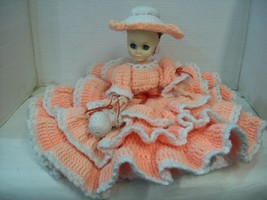 "Vintage Peach Crochet Bed Doll w Hat 15"" High Dress Circles 20"" in Diame... - $34.60"