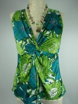 ANN TAYLOR LOFT Green Womans Size 0 Floral Sleeveless vneckTwist Knot to... - $11.75