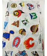 """Vintage 90s NHL Hockey Team Logos Curtain 63"""" x 42"""" All Teams of the Nin... - $48.33"""