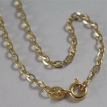 18K YELLOW WHITE GOLD CHAIN MINI 2 MM ROLO OVAL MIRROR LINK 15.75 MADE IN ITALY image 4