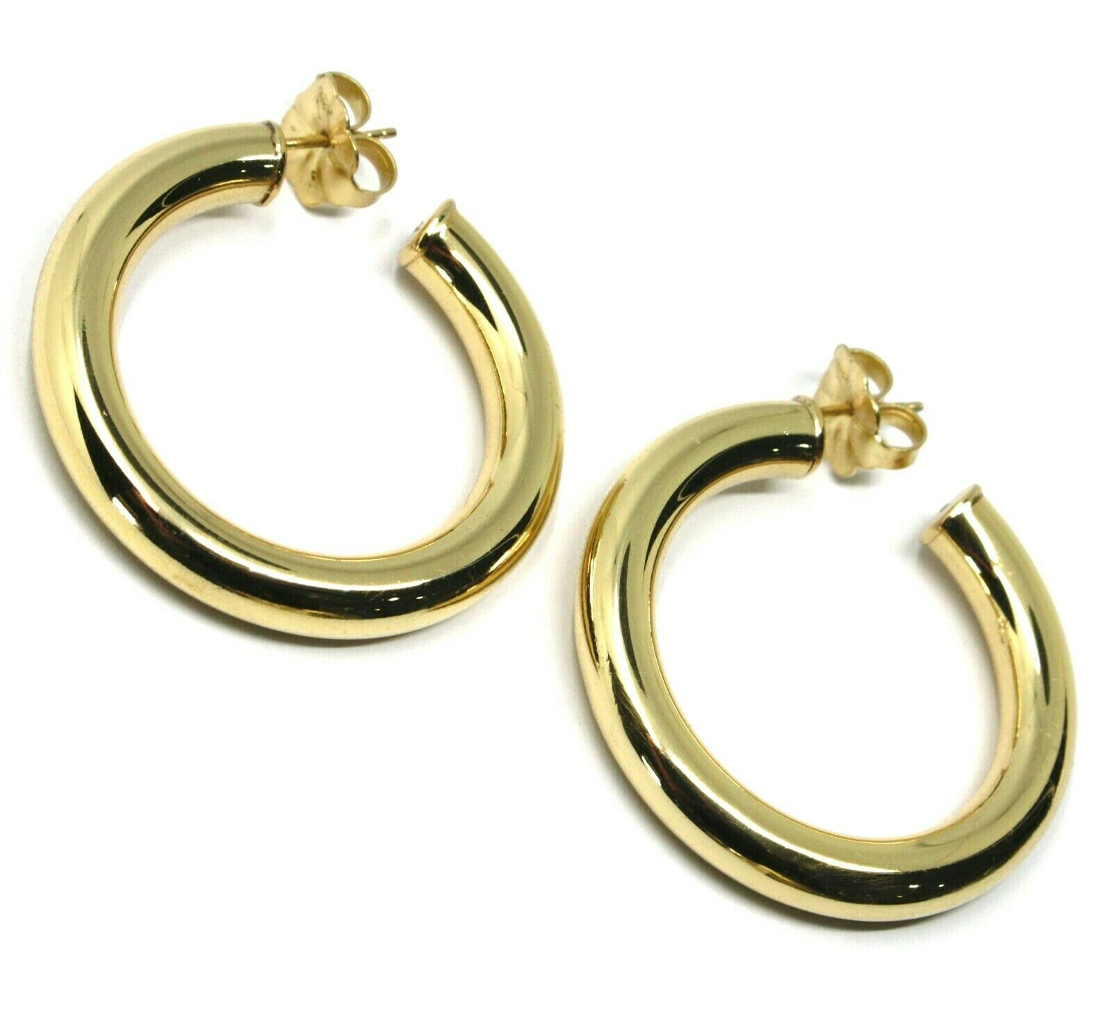 925 STERLING SILVER CIRCLE HOOPS BIG YELLOW EARRINGS, 4 cm x 6 mm SMOOTH