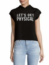 CHRLDR WOMEN'S Lets Get Physical Top WITH HOODY BLACK MSRP$88.00 - $8.57