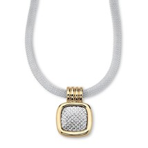 Mesh Pendant and Necklace in Yellow Gold Tone and Silvertone - $20.82