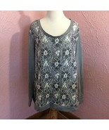 Womens Pullover Shirt Size 3X Gray White Lace Floral Overlay Long Sleeve  - $14.85