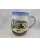 Vintage Country Farm Barn Pottery grey clay artist Mug coffee cup - $10.39