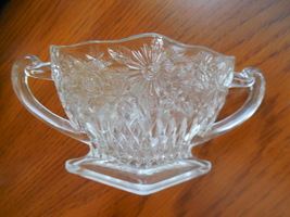 Indiana Glass Sugar Bowl, Pineapple Floral Pressed Glass Footed Diamond Shape - $10.00