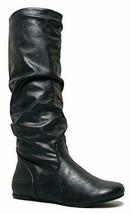 SODA Women's Zuluu Slouchy Faux Leather Knee HIgh Flats Boots - $24.28