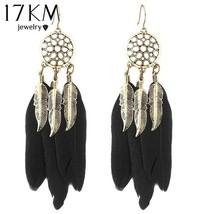 17KM® Vintage Men Women Dream Catcher Long Feather Drop Earrings Retro T... - $2.84