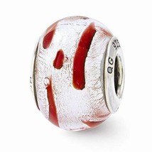 Sterling Silver s Silver/red Italian Murano Bead by Reflection Beads - $25.26