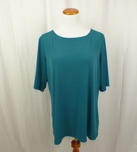 Susan Graver Essentials Liquid Knit Bateau Neck Top Shirt Elbow Sleeves ... - $21.46