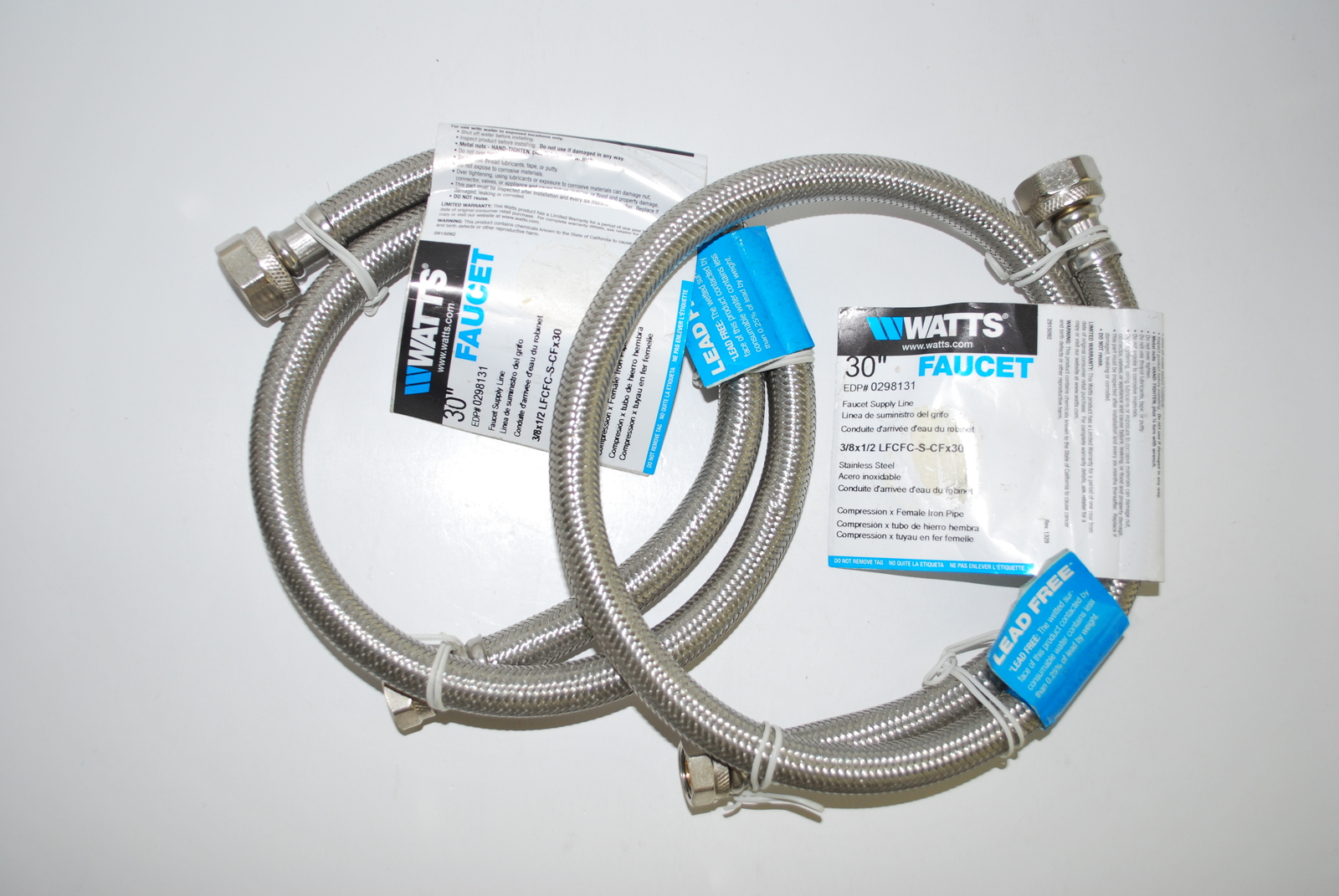 (2) 3/8 x 1/2 x 30 Braided Stainless Steel Faucet Supply Lines by Watts