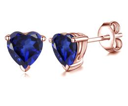 10k Rose Gold Plated 925 Silver Heart Shape Blue Sapphire Women's Stud Earrings - $35.10