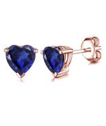 10k Rose Gold Plated 925 Silver Heart Shape Blue Sapphire Women's Stud E... - $35.10