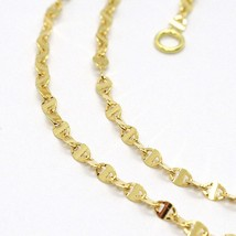 18K YELLOW GOLD CHAIN FLAT NAVY MARINER OVAL BRIGHT LINK 2 MM, 18 INCHES  image 2