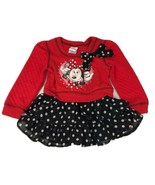 DISNEY Minnie Mouse Toddler 4T Red/Black Girl Dress Long Sleeve Polka Dot Dress - $17.63