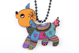 (MULTICOLOR)Bonsny dog print necklace pendant acrylic 2015 news accessor... - $16.00