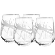 Rolf Glass Dragonfly Stemless Wine Glass Tumbler 17 oz. (Set of 4) - NEW - $59.95