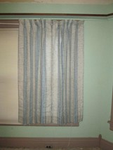 Vintage J.C. Penny Chic Cottage Blue Weave Curtain Pinch Pleat lined Sha... - $40.00