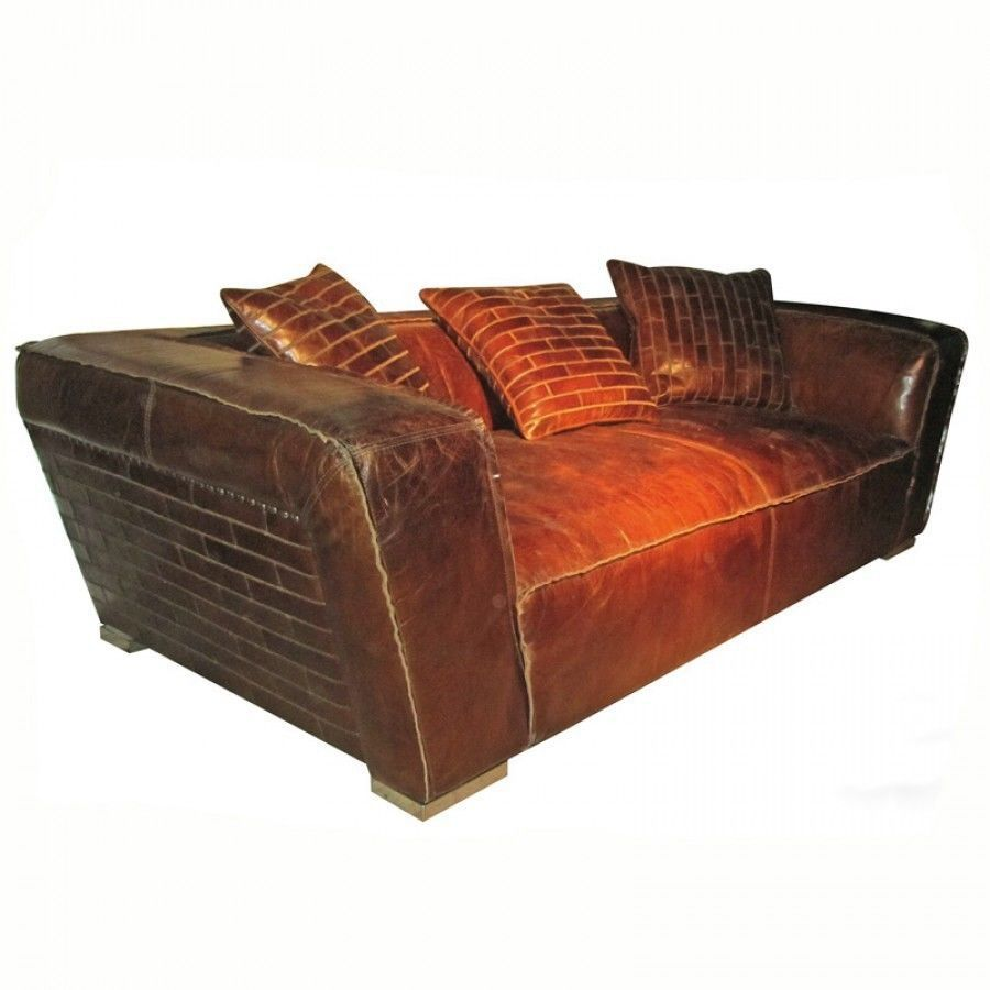 Awesome artsome vintage cigar leather sofa couch 91 39 39 wide for Wide couches