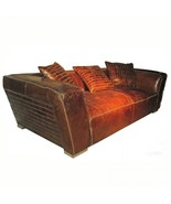 AWESOME ARTSOME VINTAGE CIGAR LEATHER SOFA/COUCH,91''WIDE. - $3,500.00