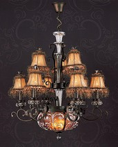 STUNNING VINTAGE STYLE AMBER HUES CHANDELIER,31''DIAM X 38''H - $1,559.25