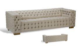 Awesome Tufted Linen Modern Oak Sofa,98'' X 36'' X 39''H. - $1,975.05