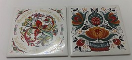 Vintage Floral Folk Art Tile Trivets Wall Decor Berggren Trayner - $14.00