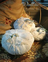 CHIC SHABBY SET OF 3 LACE/ VELVET PUMPKINS FALL HOME DECOR.5'',7'' AND 1... - $75.00