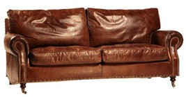 AWESOME HIGH GRADE LEATHER MARLBORO SOFA,77.5''WIDE. - $2,749.00