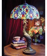 STUNNING PEACOCK MOTIF TIFFANY STYLE TABLE LAMP,28''TALL.. - $470.25