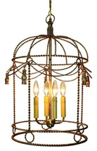 AWESOME ANTIQUE GOLD FINISH TWISTED BIRD CAGE CHANDELIER,17''DIAMETER X ... - $575.00