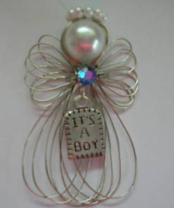 """It's a Boy"" Silvertone Angel Ornament Handmade"