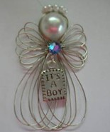 """It's a Boy"" Silvertone Angel Ornament Handmade - $8.00"