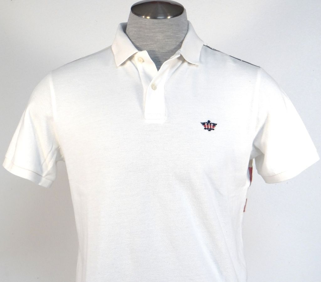 Ralph Lauren Denim & Supply Vintage White Distressed USA Flag Polo Shirt Men's