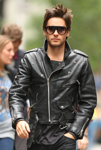 JARED LETO LEATHER JACKET, BLACK BIKER JACKET, MOTORCYCLE LEATHER JACKET for sale  USA