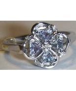 BLUE TANZANITE TRILLION & DIAMOND FLORAL BAND RING, SILVER, SIZE 7,  0.4... - $22.50