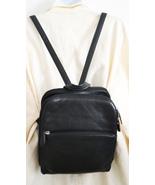 Free Ship Black Leather Backpack Multi Pocket Shoulder Bag - $29.99