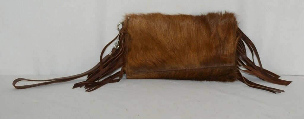 Unbranded Brown Cowhide Frindged Small  Eight Inch Clutch
