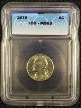 1975 5C Jefferson Nickel MS63 ICG Certified Choice Brilliant Uncirculated - $4.46