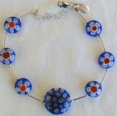 Blue morano flower bracelet