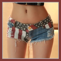 All American Girl Shorts with Low Waist USA Flag Denim Open Fly Hot Pants image 1