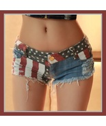All American Girl Shorts with Low Waist USA Flag Denim Open Fly Hot Pants - $39.95