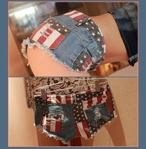 All American Girl Shorts with Low Waist USA Flag Denim Open Fly Hot Pants image 2