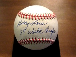 BILLY LOES 55 WORLD CHAMPS BROOKLYN DODGERS SIGNED AUTO VTG ONL BASEBALL... - $148.49