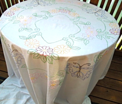 """Vintage Tablecloth -80""""x80"""" White Cotton - Butterfly and Flower Embroidery #6235 - $12.00"""