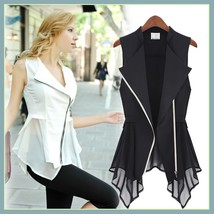 Black or White Retro Lapel Long Chiffon Scarf Asemetrical Zippered Vest Blouse