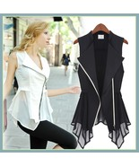 Black or White Retro Lapel Long Chiffon Scarf Asemetrical Zippered Vest... - €37,92 EUR