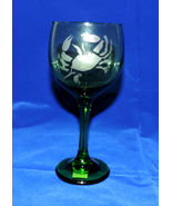 Maryland Blue Crab Beautiful Hand Etched Green Wine Glass 10oz - $16.00